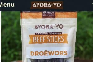 Screenshot of the Ayoba-Yo website - these grass fed beef sticks from Ayoba-yo, also known as Droewors in south aftrica appear to be Paleo friendly versions of beef jerky sticks, with added sugars and just a custom blend of spices.