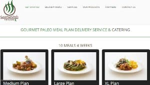 This is a screenshot of the Caveman Chefs website home page. Caveman Chefs offers Paleo Deit meal delivery plans for those eating a Paleo or other grain free diets. Given that they have a focus on produce and meats from their native Denver area, they may be the best Paleo delivery option for people in Colorado if you want to focus on locally grown or raised produce and proteins. Caveman Chefs offers a varied array of meal recipes - they also are very flexible in customizing their meal plans to meet your personal allergy symptoms or diet specifications. For example they offer through their preference form dropdown options to speficify you want only Whole30 food delivery meals, AIP Paleo food delivery meals, Low FODMAP food delivery meals as well as many other preferences, making them one of the most flexible meal delivery services. In addition, Caveman Chefs offers Paleo catering for those who are holding a special event such as a wedding or party in the Denver area and are hoping to have grain free food tailored to their own individual diet.