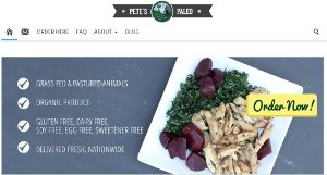 Screenshot of Pete's Paleo home page - Pete's Paleo is a great Paleo Delivery DC option, delivering farmers market quality produce from California directly to your door in chef prepared meals. Definitely Pete's is a healthy meal delivery dc option. WIth dc meal delivery, you get the best of both worlds, healthy Paleo meals with the convenience of takeout.