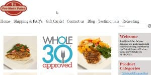 screenshot of the Pre Made Paleo home page - Pre made Paleo might be a good alternative option for those looking for whole 30 meal kit delivery who don't have time to cook each and every meal each week. You could mix Whole30 meals from pre-made Paleo alongside meals created using one of the Paleo Meal Kit services. With some of their rendered fats, wild caught fish and exotic game meats available, they also operate something like a meal ingredient delivery service as well.
