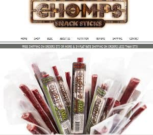 Screenshot of Chomps Snack Sticks Website - a paleo beef jerky stick brand offering new zealand grass fed beef sticks that are paleo, primal, gluten free, sugar free and hormone and preservative free