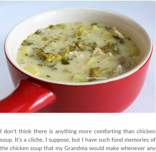 Chicken, Broccoli and (not) Potato Soup by Meatified - AIP, chunky