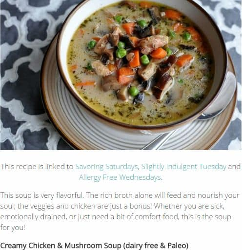Creamy Chicken & Mushroom Soup from Alergy Free Alaska - Chunky, Dairy Free (Use Oils Listed), Chicken Broth