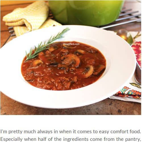 Hearty Beef and Mushroom Soup from Meatified - Quick and Easy (Minimal Prep), Creamy, Thick, Ground Beef