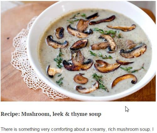 Mushroom, Leek and Thyme Soup from Eat Drink Paleo - Creamy, Exotic Mushrooms