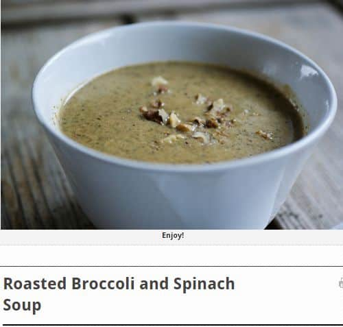 Roasted Broccoli and Spinach Soup from Swiss Paleo - Roasted, Spinach, Bone broth