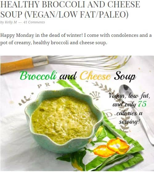 Broccoli and Cheese Soup from Foodie Fiasco - Paleo Vegan, Frozen Broccoli, Almond Milk, vegan broccoli cheese soup