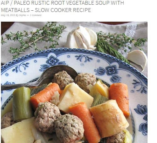 AIP Paleo Rustic Root Vegetable Soup with Meatballs from A Squirrel in the Kitchen – AIP, Slow Cooker, Paleo Vegetable Beef Soup, chicken broth