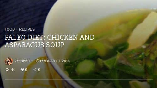 Paleo Diet Chicken and Asparagus Soup from Makobi Scribe – Chicken, Asian Influence, Ginger