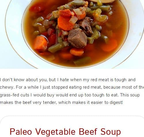 Paleo Vegetable Beef Soup from Bravo for Paleo – Paleo Vegetable Beef Soup, Frozen Vegetables, Slow Cooker (Option), Tomato base