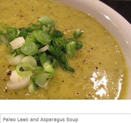 Paleo Leek and Asparagus Soup from Paleoaholic – Chicken Stock, Leeks, Paprika