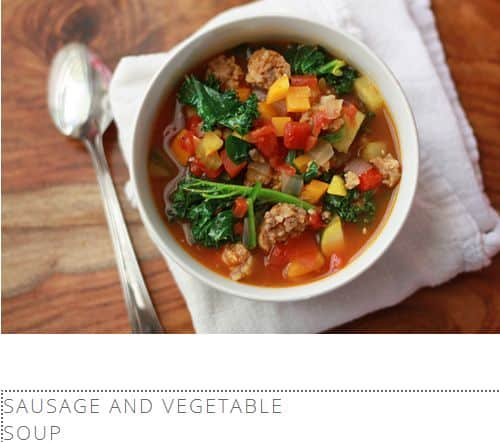 Sausage and Vegetable Soup from One Lovely Life – Tomato Based, Dairy Free