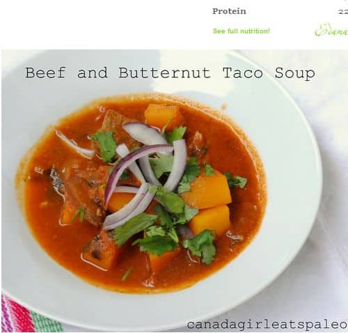 One Pot Paleo Beef Taco Soup from Canada Girl Eats Paleo - Slow Cooker, Butternut Squash, Bone Broth