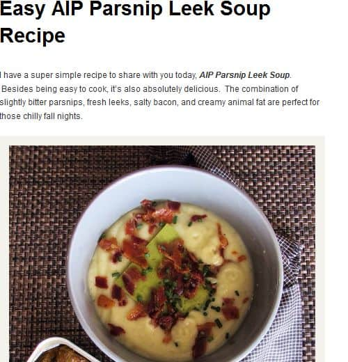 Easy AIP Parsnip Leek Soup Recipe from Paleo Cajun Lady - AIP, Parsnip, Bacon, Quick