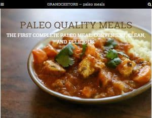 Screenshot fo the Grandcestors website - this section covers the company Grandcestors, which offers options for buying their prepackaged Paleo meals from health food and Whole Foods stores, as well as offering the option of having their paleo frozen meals delivered to you through a third party grocery delivery company, the delivers all over.