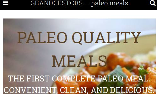 Screenshot of the Grandcestors website - Grandcestors offers frozen paleo tv dinners packaged in eco plastic containers to be reheated in the microwave. They are available in local area stores and offer shipping to your home via their website or through the Door to Door organics service