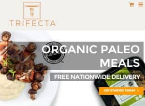 Screenshot of the Trifecta Home Page –Trifecta offers prepared food delivery Columbia in Columbia region. Trifecta is a paleo restaurant Columbia and partnered with famous members of the Paleo community. Trifecta provides organic meals, eco-friendly corn-based packaging and offer fresh meal delivery Columbia all over Columbia area.