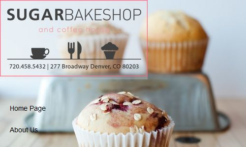 Screenshot of the Sugar Bakeshop and Coffee House Website - a coffee house offering paleo baked goods in the Denver area, as well as Paleo baking classes and other Paleo related activities
