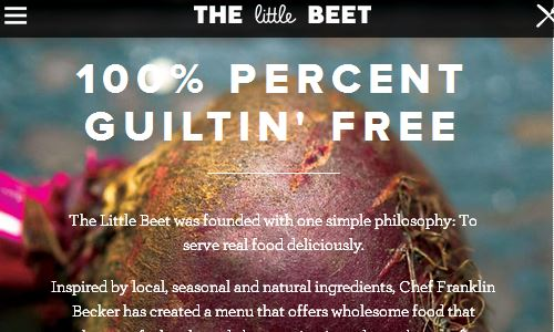 Screenshot of the Little Beet website - The little beet is a totally gluten free restaurant in NYC. Even their kitchen is certified as 100 percent gluten free. This means that it is a fairly easy place to eat on the paleo diet, as they have already cut out many of the grains in much of their dishes. In addition, they also focus on local, sustainable ingredients, which sets them apart from other gluten free nyc restaurants toward being more of a paleo friendly place. Since the servers are already very experienced with dietary restrictions and special diets, the little beet is an option to consider when looking for a paleo restuarant nyc.