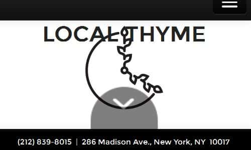 Local Thyme NYC Home Page Screenshot - Local Thyme is a NYC Paleo friendtly local fast cafe that offers designated paleo meals on their big menu. All items are marked as either paleo, gluten free or vegetarian as appropriate. If you are looking for a nyc paleo restaurant on the east side, you will want to take a look at Local Thyme.