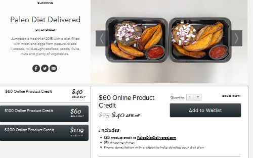 Gilt has been advertising 50% off plus on Paleo Diet Delivery orders in multiple cities for some time