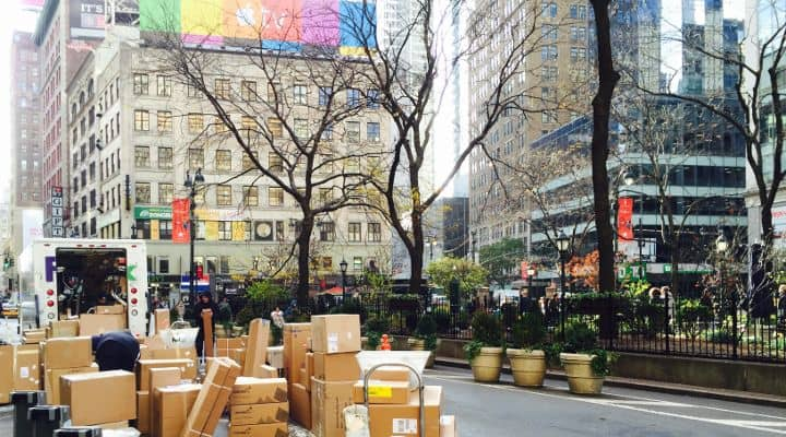 Photo taken of Fedex delivery packages in Herald Square in NYC - It is a visual for this article which is about Paleo NYC delivery companies. These 13 companies offer paleo meal delivery nyc packages and deliver to addresses in the greater New York tri-state area. All of the companies qualify as gluten free nyc delivery companies, and the majority also offer nyc organic food delivery. For those looking for paleo food delivery nyc options, this is a comprehensive guide to getting paleo nyc food delivered to your door. It basically covers all of the paleo meal delivery nyc services, whether they are local businesses (3) or national business (10) that offer meal plans that are delivered to New York City addresses. If you are looking for paleo meals delivered nyc, this is the guide for you. Many of the paleo diet delivery nyc plans offered by these companies are cost compeditive with meals available at local paleo restaurants in NY. Paleo meals nyc options are pretty good in general compared to other cities, but having access to these delivery services takes your options to another level. Whether you are looking for just organic delivery nyc options or true paleo food nyc options, these are great companies. By choosing paleo, you are by default finding companies focusing on organic meal delivery nyc options, offering organic food nyc meals.