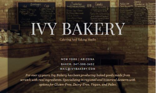 Screenshot of the Ivy Bakery website - Ivy bakery is a popular Soho bakery that has been in business for a long time - over 15 years. During that time, they have made a transition from a traditional bakery, to a NYC gluten free bakery, to now being a first NYC paleo bakery as well as offering other specialty items, such as NYC vegan bakery and NYC dairy free bakery products. They have also transitioned to being a catery only bakery, where paleo baked goods are delivered to you rather than you visiting their retail location. One interesting fact is that the owner and head baker has over the last number of years transitioned herself (Daniellan Louie) to a paleo diet and has hosted a number of event and dinner parties with catered paleo cuisine over the years. What better person to work with for a custom paleo cake for your next major life event than someone who has many years of baking experience, and knows the ins and out of the paleo diet as they follow it themselved. With all of those years of experience in the industry (they had been a loved bakery in Soho for many years) they are definitely a great option for paleo nyc foods and baked goods.