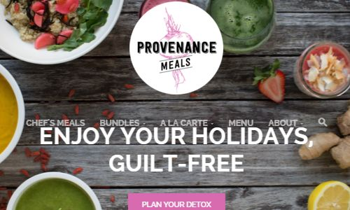 Screen shot of the Provenence Meals NYC website - Provenence meals offers high quality locally sourced, healthy, organic meal delivery nyc meal options. They focus their effort on the healthy living crowd more so than the paleo crowd, but the owners believe in paleo principles. Their menu is marked as paleo where appropriate. If you are looking for paleo meals delivered nyc options, gluten free nyc options or organic food nyc options, they are a company worth checking out.