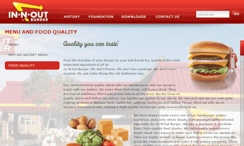 In and Out Burger Home Page Screenshot - The In and Out Burger franchise based in the west coast is considered one of the decent paleo fast food options for burgers on the west coast. This is due to the company offering their protein style lettuce wrap burger on their secret menu, but also due to them pledging to use 100% beef in their burgers, and no fillers. If you are looking for paleo and fast food on the road in California or Texas, In and Out Burger may be a good place to consider.