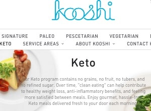 Kooshi (homepage pictured) offers Los Angeles Paleo meal deliver plans