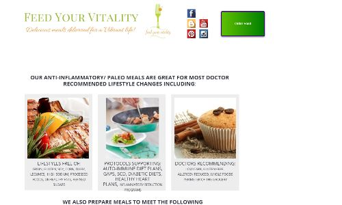 Feed your Vitality, home page screenshot pictured, offers autoimmune medical food plans and custom GAPS and SCD delivery plans for residents of St Louis MO. Lucky St. Louis residents are able to purchase SCD food for sale customized to their medical needs and delivered to their home or office or to be picked up at downtown pickup locations, similar to a restaurant offering GAPS takeout or SCD takeout