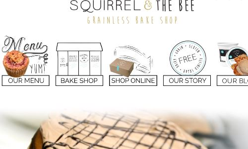 Screenshot of the Squirrel & the Bee grainless bake shop homepage - Whether you are SCD, gluten free or Paleo or just watching what you eat, there are now calories in paleo banana bread offerings from companies like Squirrel & the Bee grainless bake shop . Our list of the grain free banana bread options on the market, Hopefully we will outline the best banana almond bread options in this guide.
