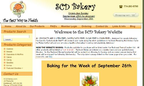 THE scd Bakery, home page screenshot pictured, offers scd products which are all scd bread and baked goods. One of the original options for getting SCD foods sent to you, this sugarless bakery has been helping countless people following the SCD and GAPS diets for years with their scd food for sale.