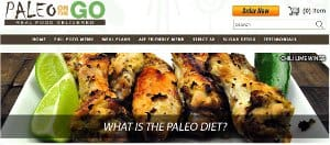 screenshot of the Paleo on the Go home page - Paleo on the Go is probably the most dedicated to the Autoimmune Paleo protocoal out of any of the companies I have read aout. They partner with some of hte biggest names in the AIP space such as Sarah Balantyne from the Paleo Mom blog and Eileen from the Phoenix Helix podcast and blog. This has caused them to creat a pretty large AIP menu with a lot of specialized offereings like baked goods, tortillas, cooking fats and many other items (even AIP bagels). When you think of AIP food delivery Paleo on the Go should probably be one of the first companies that come to mind.