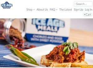 This is a screenshot of the Ice Age Meals home page. Ice Age Meals offers Paleo meals delivered to your door in cooler boxes containing freezer meal packages with sugar free, grain free meals. Ice Age Meals is famous for having the founder, Nick, appear on the Shark Tank television program and pitch their Paleo Diet food delivery service. Their Paleo delivery food tends to focus on the basics like cutting out grains, but does not necessarily contain grass fed meats or organic produce in all instances. One of the sticking points with the Shark Tank hosts I believe may have been some of the business accounting numbers. The founder Nick wanted a large investment and without proving that he could make all the numbers work out, it wasn't clear to the Shark Tank team whether it was a cheap Paleo meal delivery service or a premium service and whether it would be profitable. Please see the main article for several links to Ice Age Meals food delivery reviews.