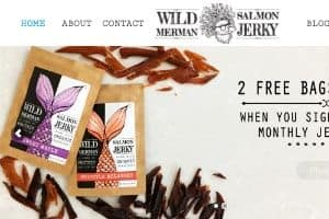 Screenshot of the Wild Merman website - They take advantage of several fish jerky recipes to craft their line of Paleo friendly salmon jerkys.