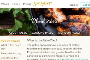 Screenshot of the Sun Basket Paleo info page on their website -  Sun basket is one of the handful of paleo meal kit delivery services on the market. Some would even consider it the Best paleo meal kit delivery option because they have both a dedicated Paleo plan and you get to choose from within several menu choices versus Green Chefs more limited weekly Paleo dinner kit delivery menu.