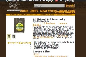 Screenshot of the Jerky.com homepage - Whether you are SCD, gluten free or Paleo or just watching what you eat, there are now Primal/Less Strict: Ahi Tuna Jerky offerings from companies like Jerky.com . We have outlined a lot of freeze dried tuna products in this post. We cover many dried ahi options to give insight into your buying decision.