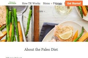 This is a screenshot of the Terra's Kitchen Paleo page on their website - Terras focuses on Paleo meal kits as one of their offerings by selecting Paleo meals through their menu. This is part of their larger overall focus on healthy meal kits and offering customers fresh ingredients delivered.