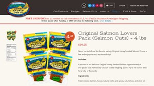 Screenshot of the Honey Smoked Fish Co homepage - These honey smoked salmon company products from Honey Smoked Fish Co and others should help end the search for healthy possibilities. Our list of the smoked salmon for sale online options on the market, masterbuilt smoked salmon brands, including those from Honey Smoked Fish Co ,