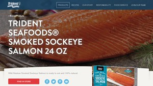 Screenshot of the Trident Seafoods homepage - Finding Wild Caught Smoked Salmon products used to be a challenge, but its become easier. For those seeking alaskan smoked salmon mail order products, we have you covered. pacific northwest smoked salmon brands, including those from Trident Seafoods ,
