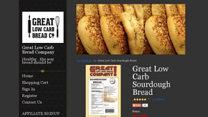 Screenshot of the Great Low Carb Bread homepage - With many Almond Flour Sandwich Bread choices available from companies like Great Low Carb Bread. Whether you are SCD, gluten free or Paleo or just watching what you eat, there are now gluten free yeast free sandwich bread offerings from companies like Great Low Carb Bread . Your vegan gluten free sandwich bread options have expanded. Great Low Carb Bread makes it relatively easy.