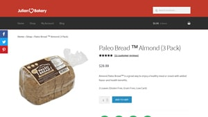 Screenshot of the Julian Bakery homepage - Finding wheat free bread products used to be a challenge, but its become easier. Our article covers several cornbread without flour options. We researched vegetable bread no flour and this article covers everything we found (like options from Julian Bakery.