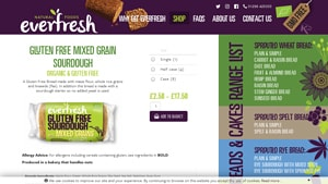 Screenshot of the Food For Life homepage - Our list of the Gluten Free Vegan Bread Brands options on the market. With many vegan gf bread choices available from companies like Food For Life. If you are in the market for gluten free vegan bread products, Food For Life is worth checking out.