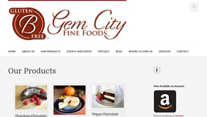 Screenshot of the Gem City Fine Foods homepage - Looking for no grain flour options should not be so difficult, and now it's not as you can find an increasing number of products in store and on-line. In this article, we cover products that provide bread made without wheat flour options from companies like Gem City Fine Foods. Although bread without bread flour options can look different than your standard standard American (wheat/sugar/preservatives based) version, products from Gem City Fine Foods can also be wonderfully flavorful and delicious.