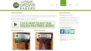 Screenshot of the Homegrown Bakery homepage - They are a good company to look into when looking for Cake Without Flour options. Finding banana nut bread without flour products used to be a challenge, but its become easier. With several paleo bread without almond flour options, Homegrown Bakery is a great company to know about.