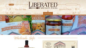 Screenshot of the Liberated Specialty Foods homepage - We are fortunate to have companys like Liberated Specialty Foods these days available online, offering natural Nut Free Paleo Bread Brands products. It can be challenging to find grain free nut free bread options, but we've done a lot of the legwork for you - below are options from Liberated Specialty Foods and others. some nut free coconut flour brands compared.