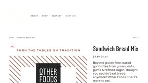 Screenshot of the Other Foods homepage - Whatever your dietary preferences, it's great to know about i quit sugar paleo bread mix brands. Finding paleo flour mix products used to be a challenge, but its become easier. They offer some viable paleo nut mix products.