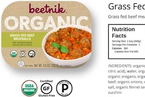 screenshot of the Beetnik Foods website showing details of their Grass Fed Beef meatballs meal. Beetnik products are some of the Paleo frozen meals walmart offers in their stores in the freezer case.