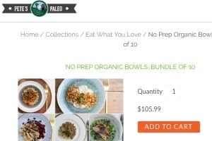 Screenshot of the Pete's Paleo website of their No Prep Organic Bowls Bundle, one of the healthy frozen meals Walmart offers through their website's partner network of suppliers/companies. These meals can be a great option for Paleo and Whole30 Walmart shoppers.
